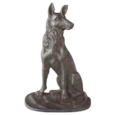 Antique Doorstop German Shepherd Dog Wedge Style