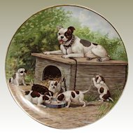 Lovely Antique Bulldog w/Pups Plate Marked Taylor Smith