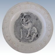 C.1850 Antique ABC Children's Plate With Bulldog