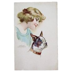 Signed Glamour Dog Fashion Antique Postcard Boston Terrier
