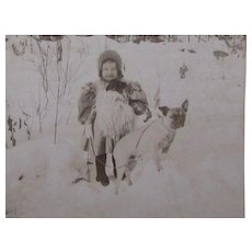 Stereoview Pug Dog With Child Antique c.1898