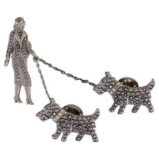 Vintage Deco Lady Walking Scotty Dogs Pin