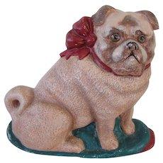 Vintage Cast Iron Pug Dog Doorstop Signed