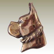 Solid Bronze Boxer Dog Brooch/Pin Vintage