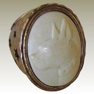 Vintage Brass Tone Cameo Boston Terrier Ring