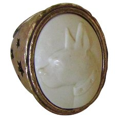 Vintage Brass Tone Cameo Boston Terrier Ring