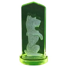 Vintage Czech Vaseline Glass Intaglio Scotty Dog