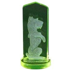 Vintage Czech Vaseline Glass Intaglio Scotty Dog