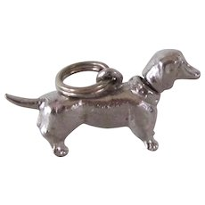 Sterling Silver Charm Mechanical Dachshund Dog Vintage
