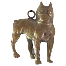 Brass Watch Fob Vintage Boston Terrier Dog