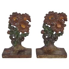 Rare Hubley Iron painted Flower Bookends Nursery Siz