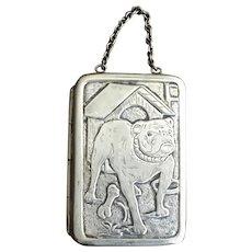 Antique Chatelaine Coin/Card Purse w/Bulldog Silver Plated
