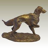 Outstanding Solid Bronze Irish Setter Dog Signed Vintage
