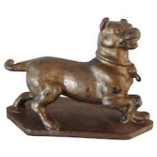 Antique Metal Pug Dog On Base