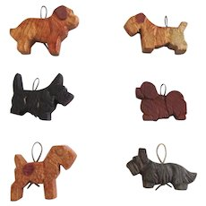 Set of Six Anri Miniature Wood Dog Ornaments