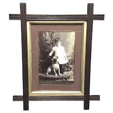 Exceptional Antique Framed Cabinet Photo Card Pug Dog w/Child