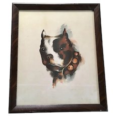 C.1912 Watercolor Painting Of A Boston Terrier Dog Antique
