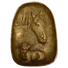 Solid Bronze Antique Horse & Bulldog Dresser/Tip Tray