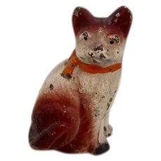Antique Painted Metal Dollhouse Cat