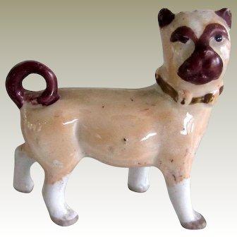 Antique Germany Lustreware Staffordshire Pug Dog