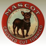 Antique Mascot Tobacco Mirror With French Bulldog