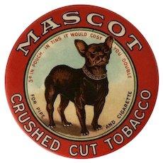 Antique Mascot Tobacco Mirror With French Bulldog