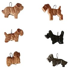 Set of Six Anri Miniature Wood Dog Ornaments Vintage