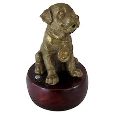 Vintage Solid Brass With Wood Pug Dog Table Lighter