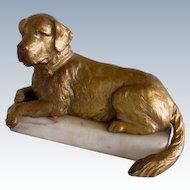 Antique Gold Gilt On Marble St. Bernard Dog France