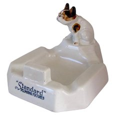Antique Porcelain Advertising Standard Plumbing French Bulldog Dog