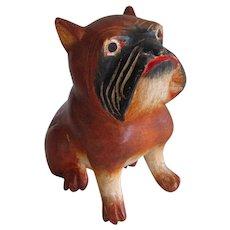 Carved Wood Bulldog/French Bulldog Statue Vintage