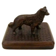 Solid Bronze Collie/Shellie Dog On Plinth Vintage