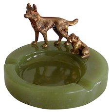 Solid Bronze German Shepherd and Bulldog Tray Vintage