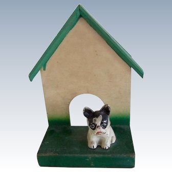 Cast Iron French Bulldog Paperweight on Dog House Vintage