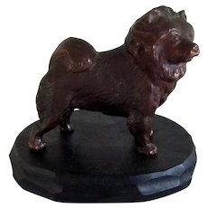 Solid Bronze Chow Dog On Wood Display Vintage