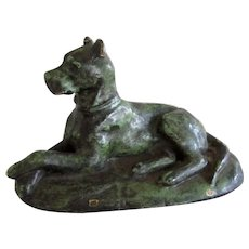 Bronze Great Dane Dog On Base Vintage