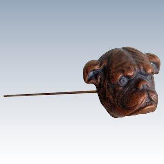 9 Inch Bulldog Figural Antique Hatpin