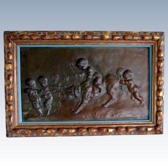 Bronzed Signed Cherub/Putti Relief Plaque Antique Framed -