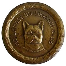 Solid Bronze Show Medal French Bulldog Vintage C.1989