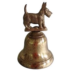 Vintage Brass Bell Made In England Scotty Dog