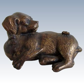 Vintage Cute Metal Pug Dog/Puppy With Fly