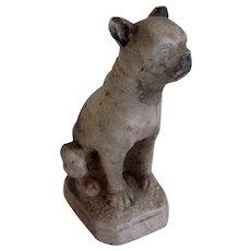 Antique Chalk Ware Boston Terrier Dog On Plinth
