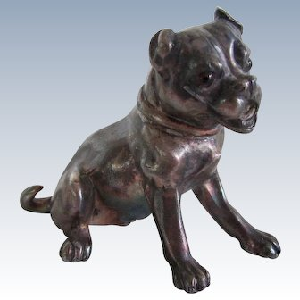 Victorian Silver Plated Pug Dog With Glass Eyes Antique