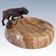 Antique Bronze On Marble Bulldog Dog Vanity Piece