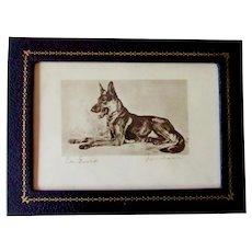 Vintage Signed Print German Shepherd Dog