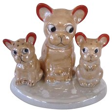 Lustreware French Bulldog/Boston Terrier Condiment Set Vintage