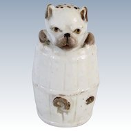 Antique Pug Dog In Barrel Salt Shaker