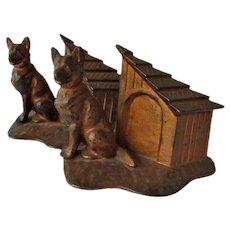 Rare Bradley & Hubbard Cast Iron German Shepherd Dog Bookends