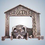 "Sterling Brooch/Pin ""Brutus"" Pug Vintage"