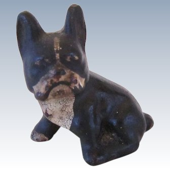 Unusual Cast Iron Paperweight French Bulldog Vintage
